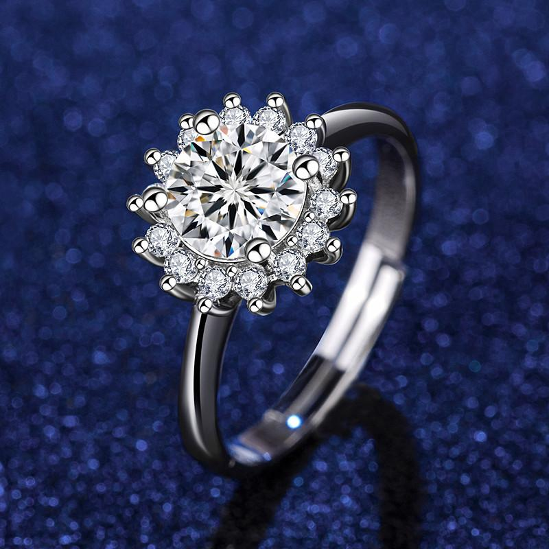 Pure Gold Platinum Blumen Diamant Solitaire Ring mit Seitensteinen Öffnen Einstellbar Full Cubic Zirkonia Hochzeit Paar Geschenk für Frauen Liebhaber Freundin Schmuck