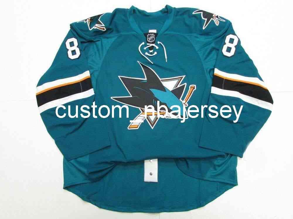 Ricamo Burns San Jose Sharks Home Team Emesso Jersey Hockey da uomo personalizzato Jersey Aggiungi qualsiasi Nome Numero
