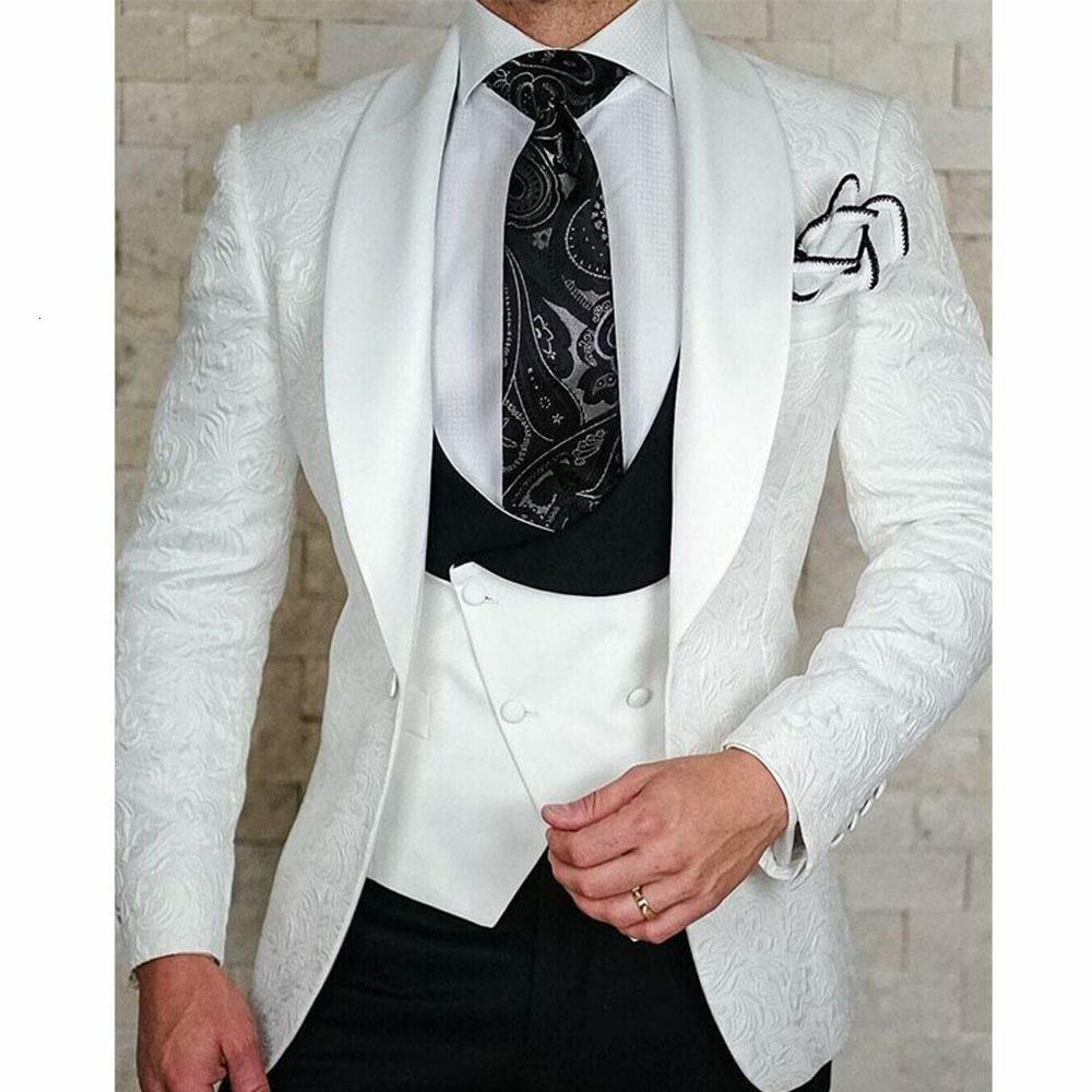 Office Worker Wear Male Clothing 3 Piece Set Printed Jacker Slim Fit Shawl Laple Blazer Groomsman Mens Suits For Wedding White
