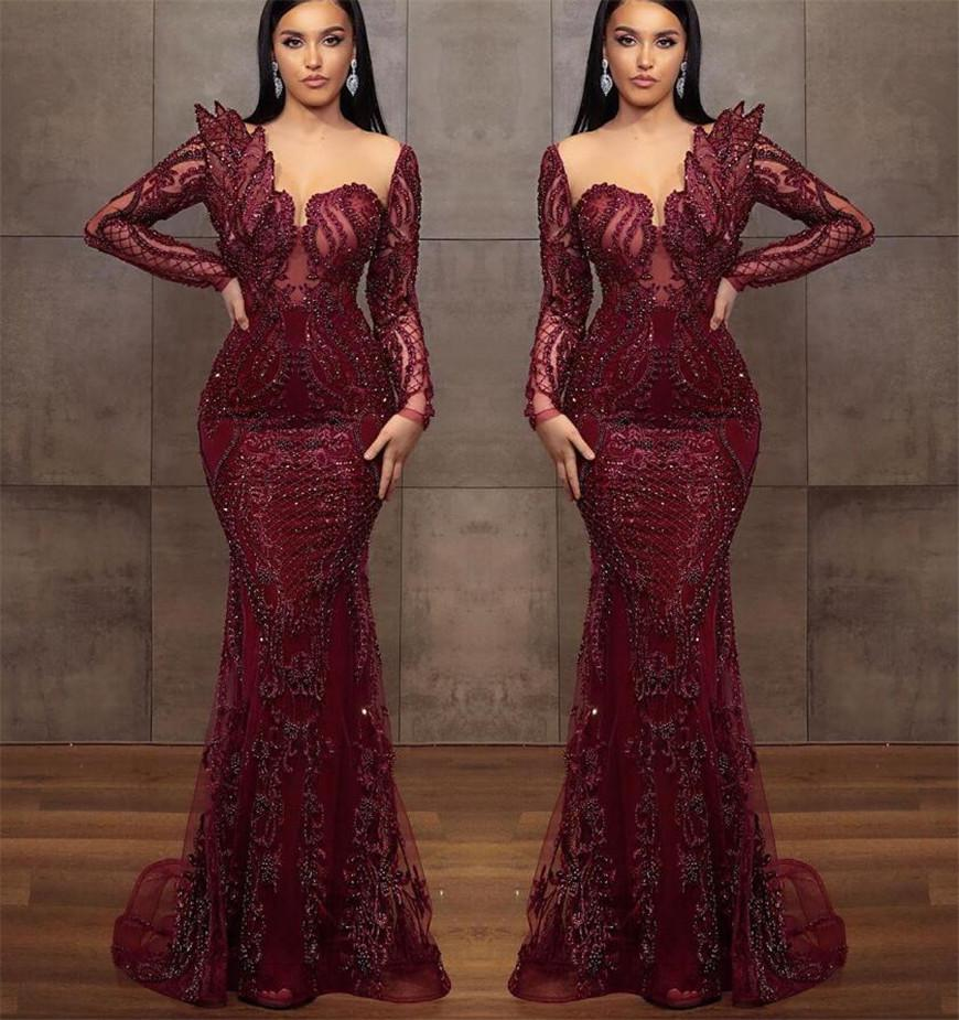 2022 Arabic Aso Ebi Evening Dresses Burgundy Lace Major Beading Mermaid Prom Gowns Sheer Neck Long Sleeves Formal Party Second Reception Dress
