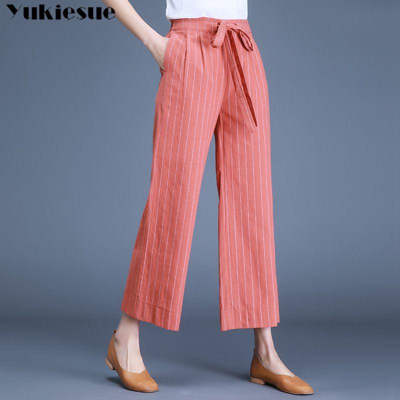 Streetwear Sommer Baumwolle Leinen Frauen Hosen Weibliche Hohe Taille Wide Bein Gerade Hosen Für Frauen Hosen Frau Plus Größe 210412