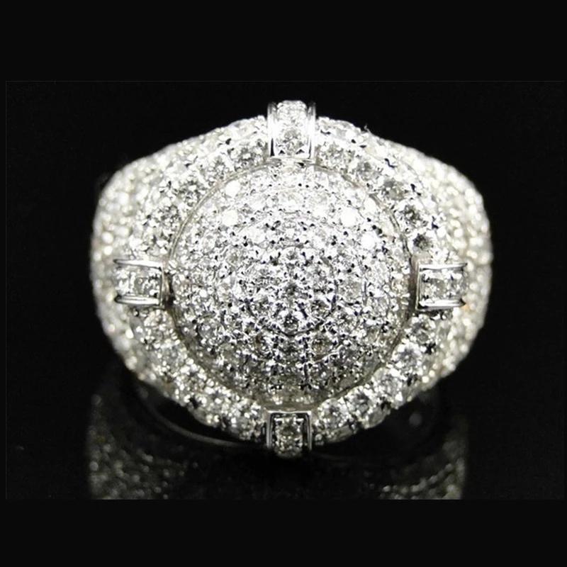 Великолепные мужские кольца натуральный кубический цирконий Белый хрусталь блеск Свадьба обручальный подарок для ювелирных изделий