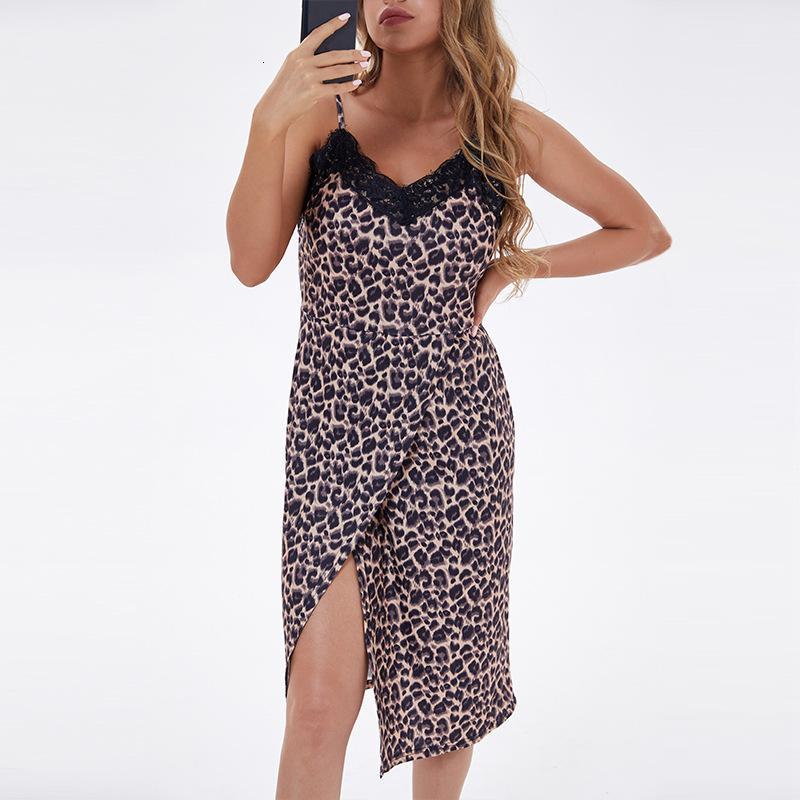 FADAN 2021 Vestidos ocasionales para mujer Large suelto sexy con cuello en V leopardo Impresión abierta Tuspillo