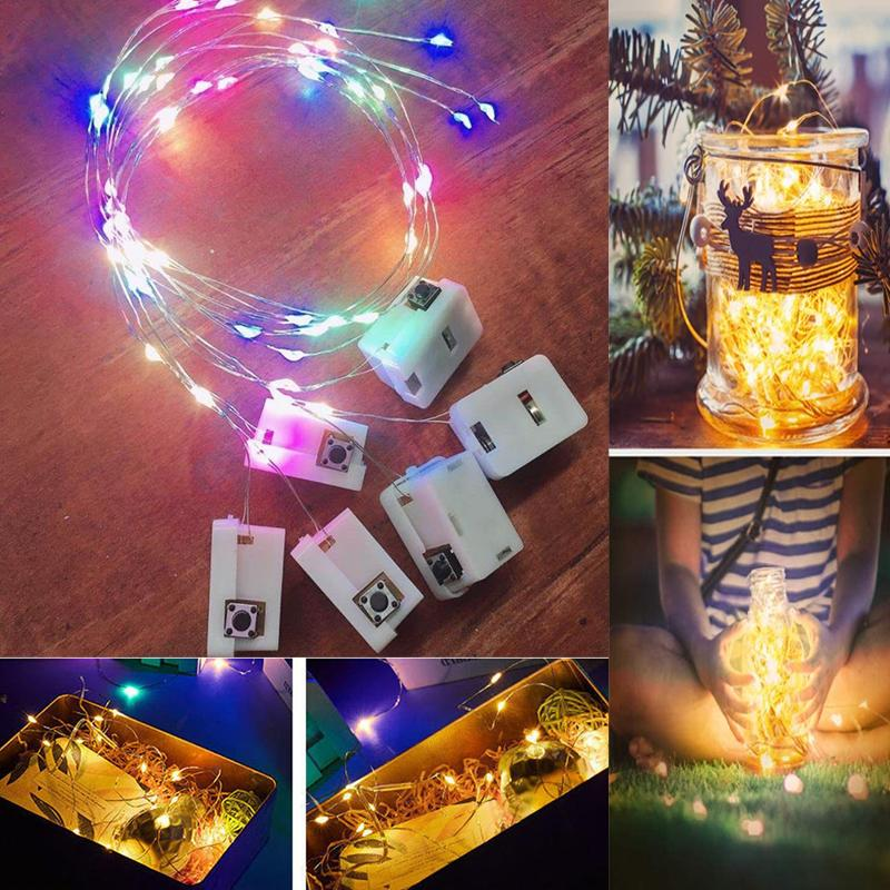 LED String Lights 1M 2M Colorful DIY Handmade Flashing Decoration Starry Fairy Lighting for Flower Garland Accessories Wreath Lamp Glow Party Supplies