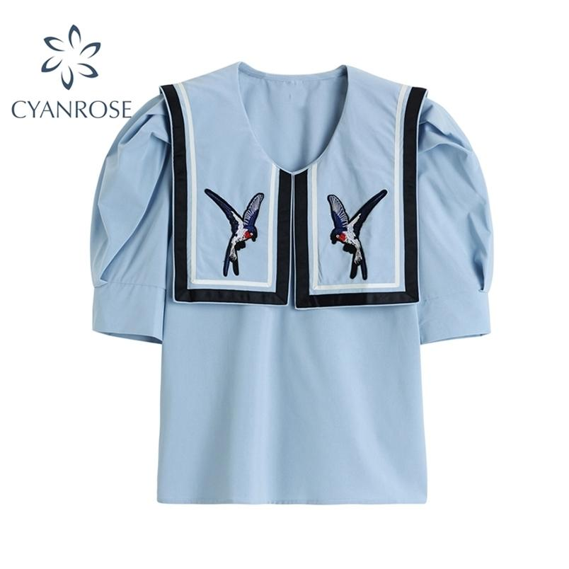 Sfuffio a manica corta uccello ricamo camicetta donna vintage estate coreano sciolto collare marinaio top shirts femmina 210515