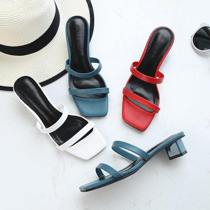 Femmina Fashion Band Band Brand Block Tacchi a basso contenuto di punta quadrati Sandali Sandali Estate Flip flops Donna Apri scarpe casual scarpe