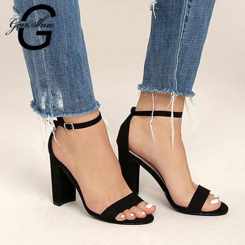 Kadın Sandalet Ayak Bileği Kayışı Topuklu Yaz Gladyatör Ayakkabı Kadın Açık Burun Parti Elbise Sandal Için Tıknaz Topuklu