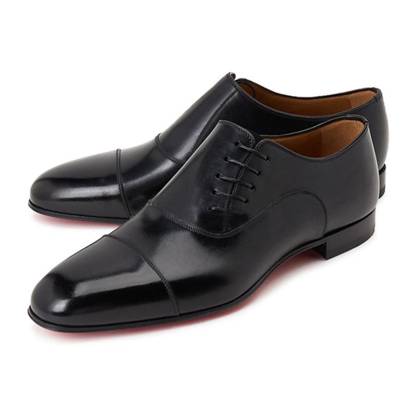 Herrenkleid Wohnungen Schuhe Business-Müßiggänger Top-Designs Red Bottom Oxfords Flacher Mens Slip auf schwarzem Echtleder mit Box.Dust Tasche Schnelles Schiff