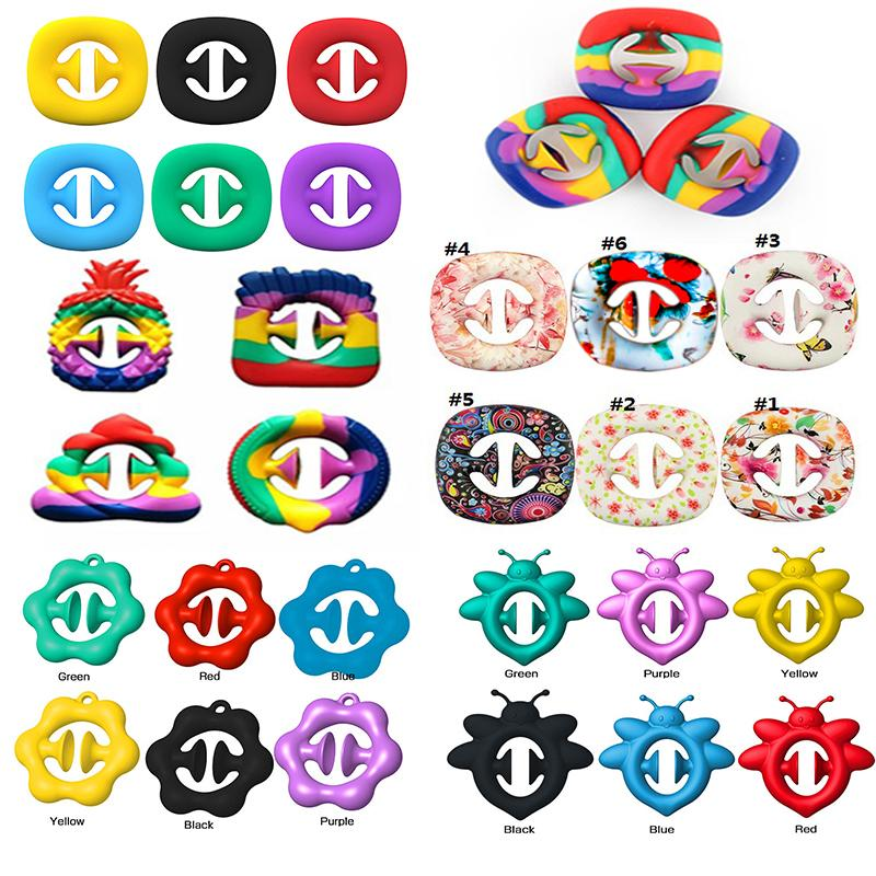Rainbow Snap Fidget Toys Grab Sensory Silicone Anti Tensate Hand Grip Toy Ball Snapers Fidget Squeezy DecomPression Anillo Push Bubble Home