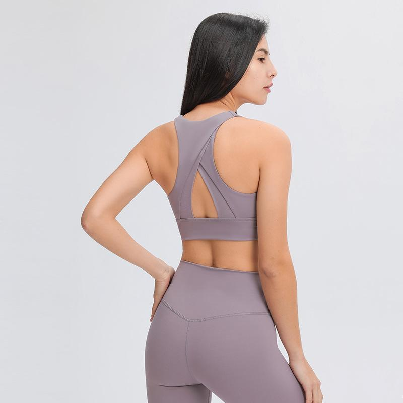 Yoga Outfit High Neck Sports Bra, Triangle Hollow Beautiful Back Gathered Shockproof Fitness Underwear Women