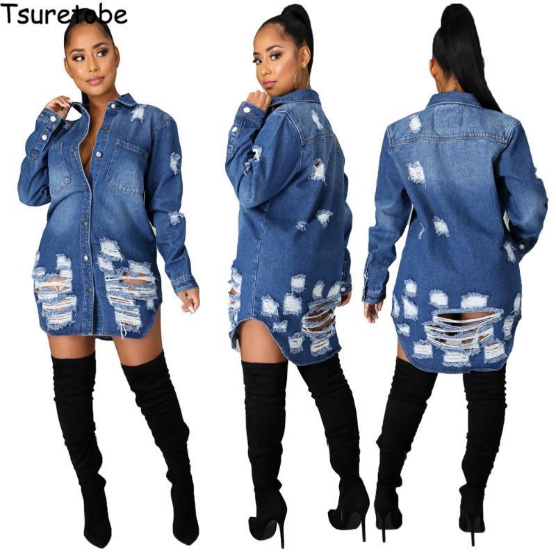 Tsuretobe Kot Ceket Kadınlar 2021 Uzun Denim Ceket Cepler Püskül Boy Dış Giyim Tek Göğüslü Moda Kış Giyim Kadın Jac