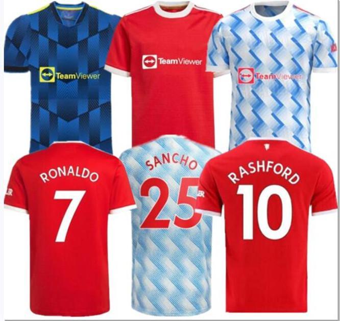 Manchester maillot de foot 2021 2022 UNITED CAVANI UTD VAN DE BEEK B.FERNANDES RASHFORD 21 22 Maillots de football Taille S-4XL