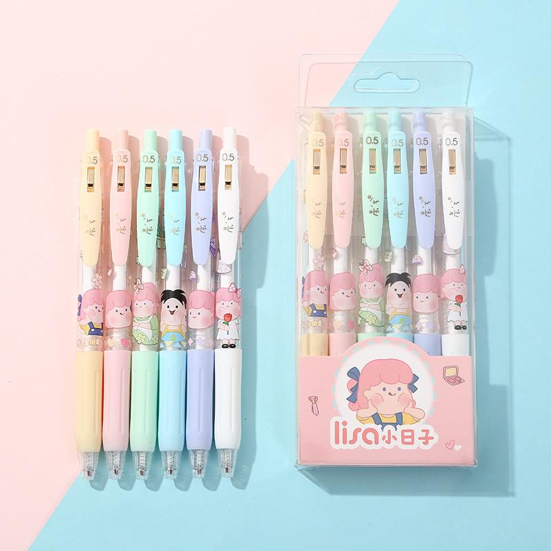 Girl Japanese Lovely and Korean Neutral Student Hand Account Cartoon Press Black Signature Water Pen