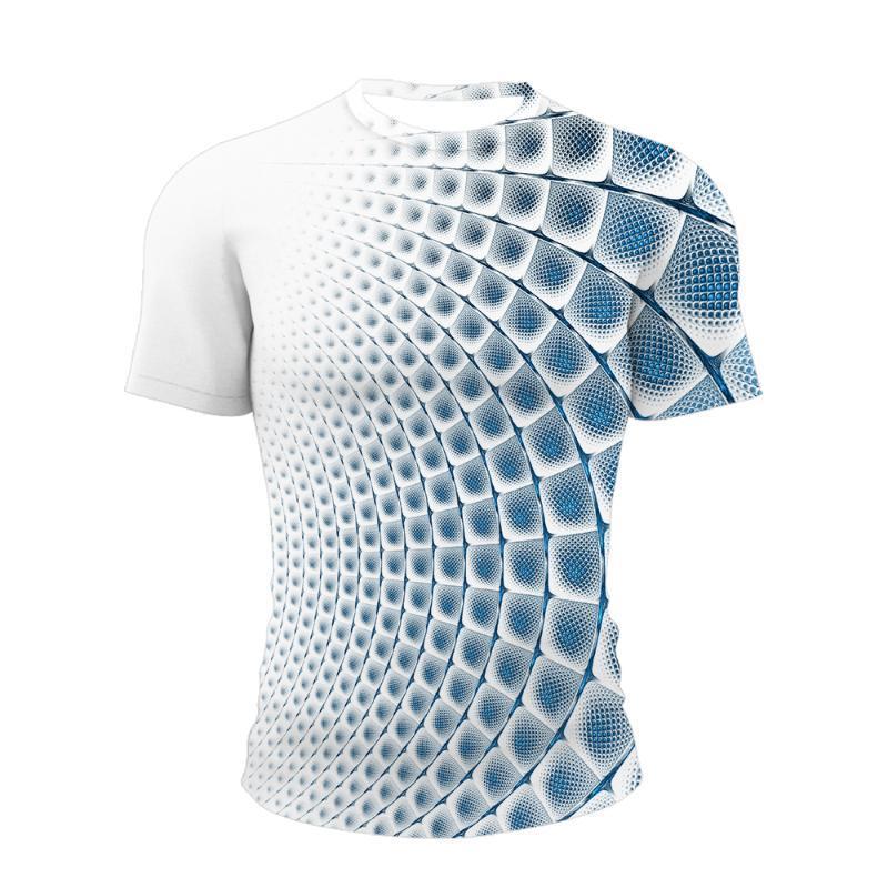 T-shirt 3D Redemoinho tridimensionale PARO HOMEM Com Impressão de Verão Gola O, Engraçada Casual Diária T-shirt da uomo