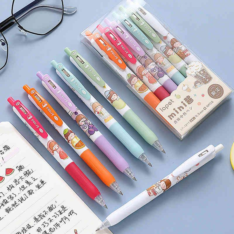 Pen New Korean cute cartoon Mini sauce with fragrance press neutral student office stationery signature water