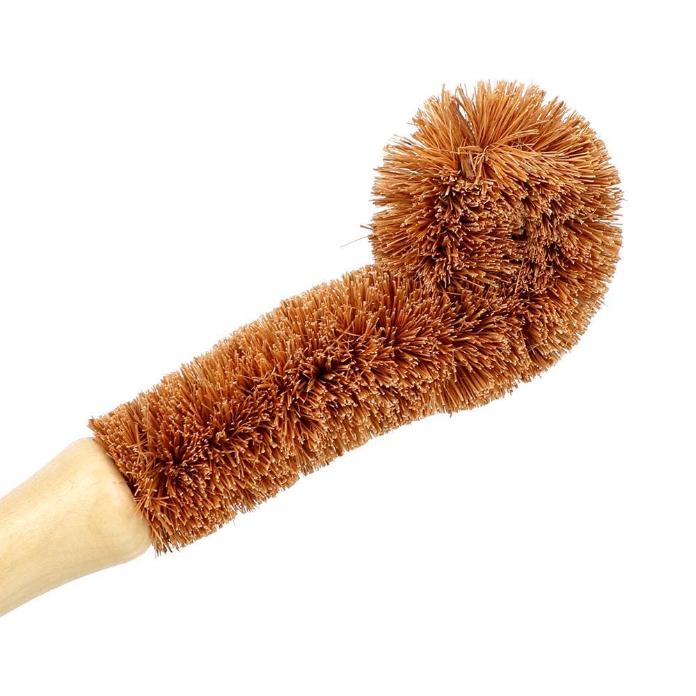 Copo de madeira escova cozinha limpeza ferramenta cabo longo punho fibra de coco marrom natural coir não-vara frigideira frigideira lavar pote escova gga4727