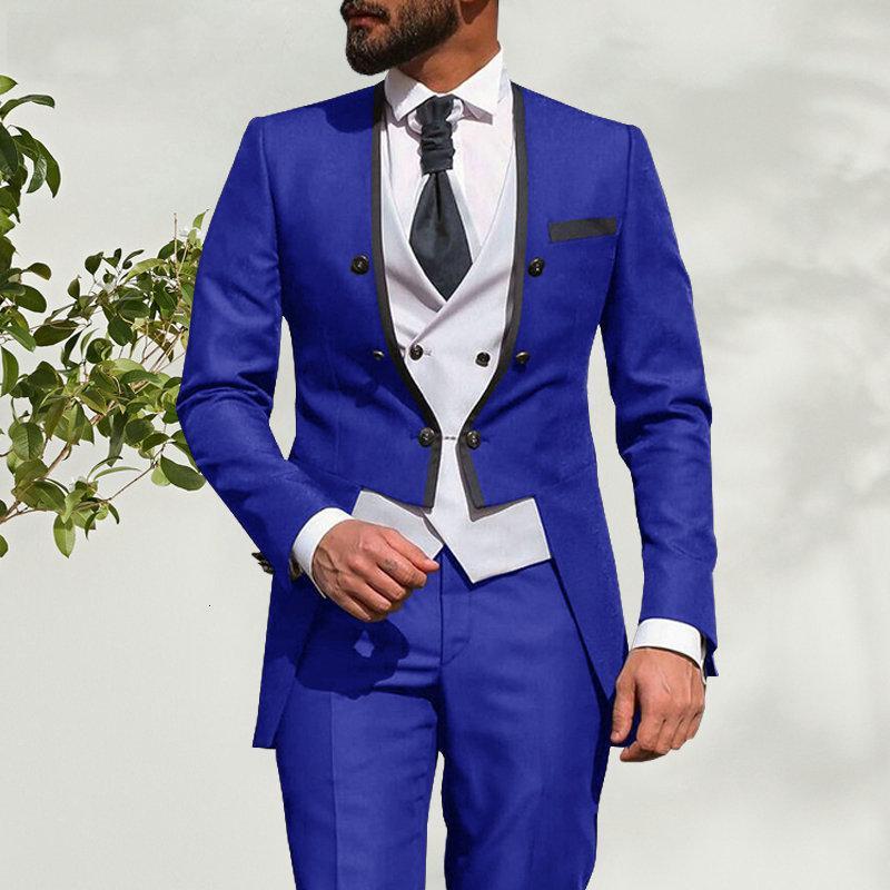 Blazer Mariage Pack sur mesure Trapeaux de dîner Morning 3 Stuk Homme Slim Fit Pak Royal Blue Bruidegum Tuxedo Bridal Gum