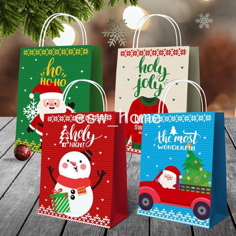 Parti Malzemeleri Kağıt Paketi Çanta Noel Hediyesi Sarma Şeker Kek Kurabiye Santa Tote Çantalar Noel Dekorasyon