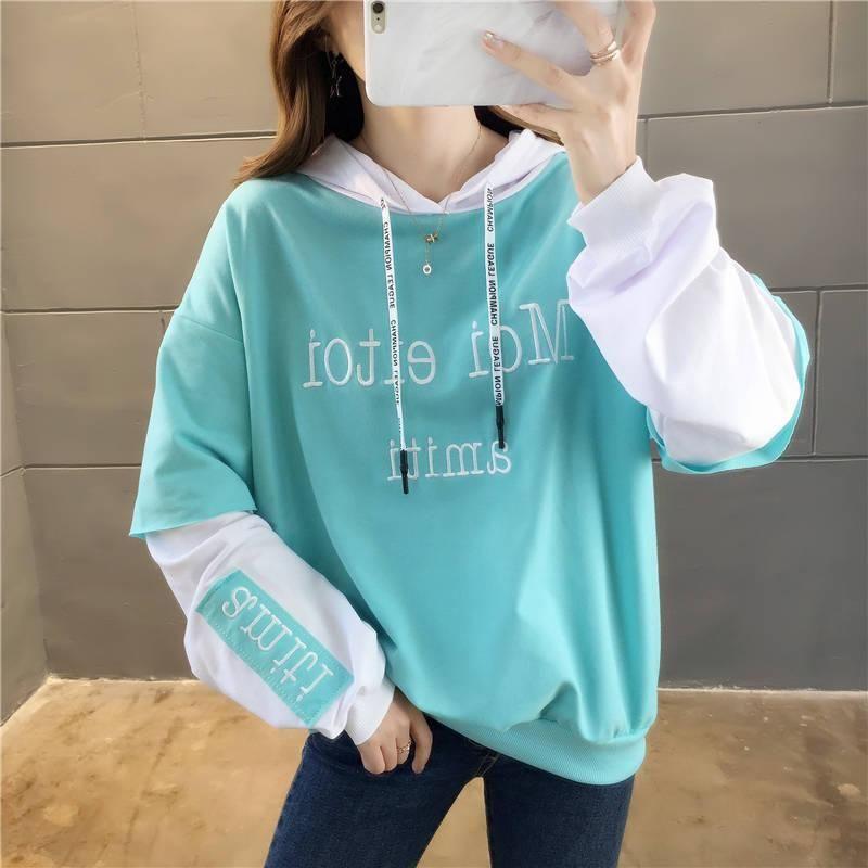 Hoodies das mulheres camisolas de algodão tops camisa feminina bordado inverno mulheres camisola estilo coreano letra modis casual harajuku oversize