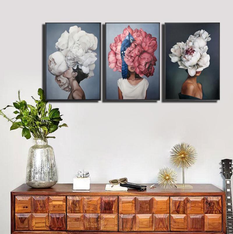 40x60cm 페인트 추상 현대 꽃 여성 DIY 유화 번호 캔버스 홈 장식 그림 그림 선물 HWD6234