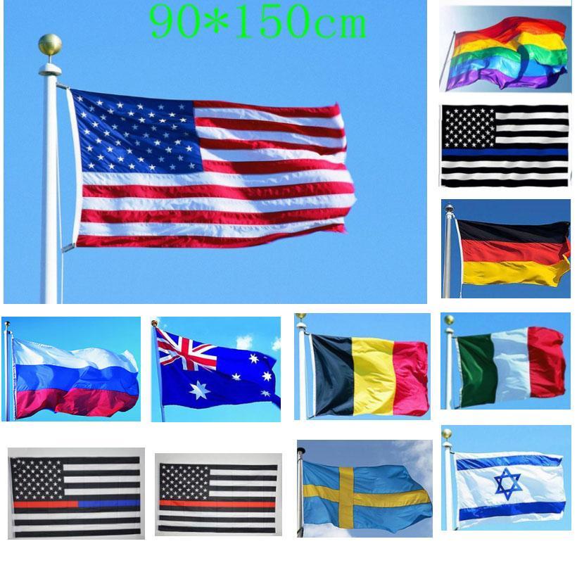 3 x 5 ft Amerikanische Flagge Double USA Flaggen Polyester mit Messing-Trümmern im Freien Portugal Schweden Belgien HH21-2385