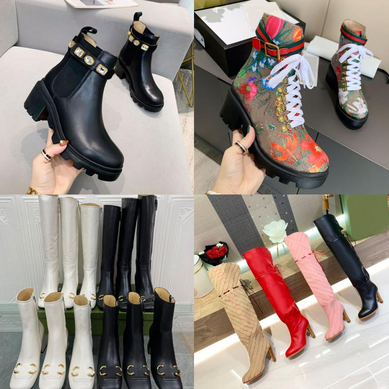 2021 Brand Women's Boots Designer Genuine Pelle Red Beige Canvas Over the Knee Boot Lepper Laces Scarpe Casual Fashion High Head Donne Sneakers di lusso Big Size 35-42