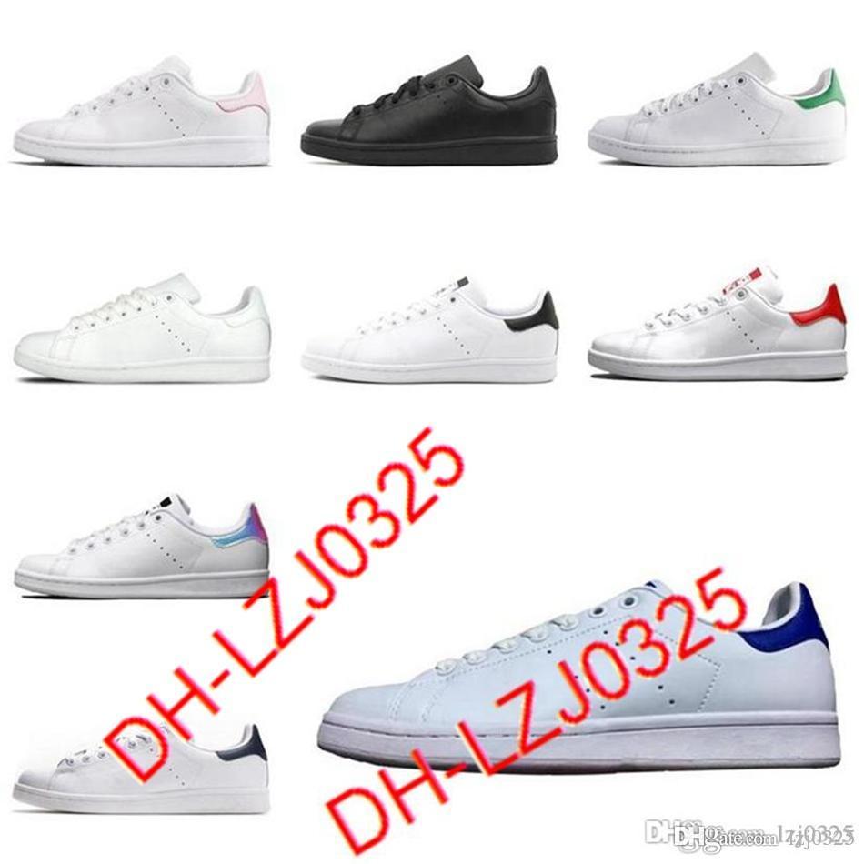 2021 Botas Smith Hombres Mujeres Zapatillas Planas Verde Negro Blanco Blanco Azul Azul Rainbow Stan Fashion Het Trainer Zapatos de deportes al aire libre Tamaño 36-44 ABN53