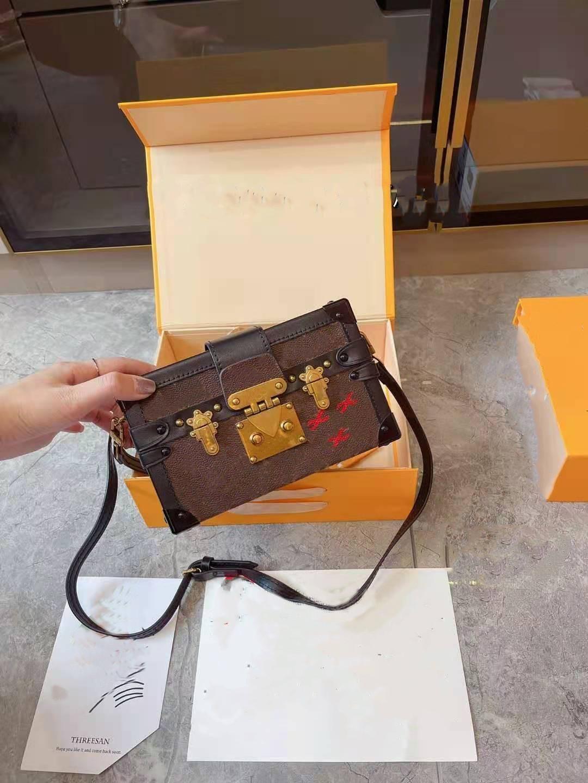 Caixa de designers Petite Malle Bolsas Evening Bags Couro Moda Caixa de Embreagem Tijolo Mensageiro Bolsa De Ombro