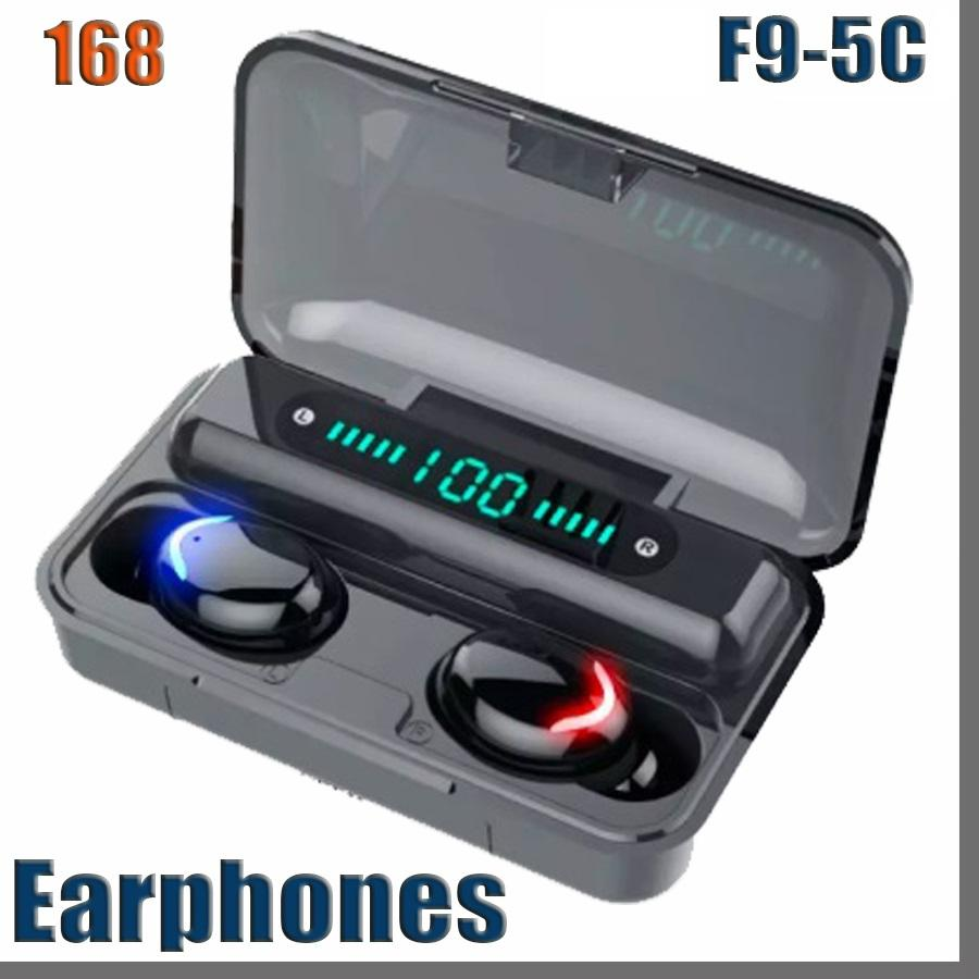 f9-5c Bluetooth 5.0 Wireless Headphones Earphones 9D Stereo Sport Waterproof Wireless Earphone Touch Control Headset earbuds 168D