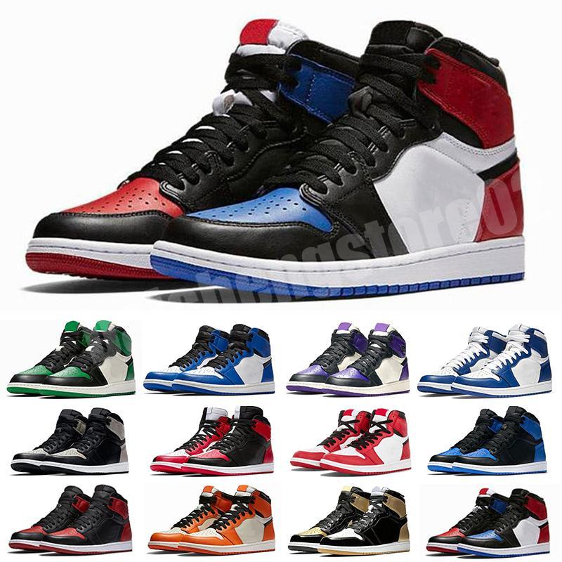 Jumpman 1 Basketbol Ayakkabı Atletizm Sneakers Koşu Ayakkabı Kadınlar Için Spor Torch Tavşan Oyunu Kraliyet Çam Yeşil Mahkeme Kutusu olmadan 36-47