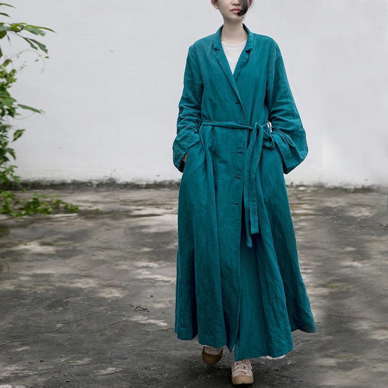 Johnature mulheres vintage algodão linho bandage casacos botão manga longa outono sólido feminino chinês trincheira 210521