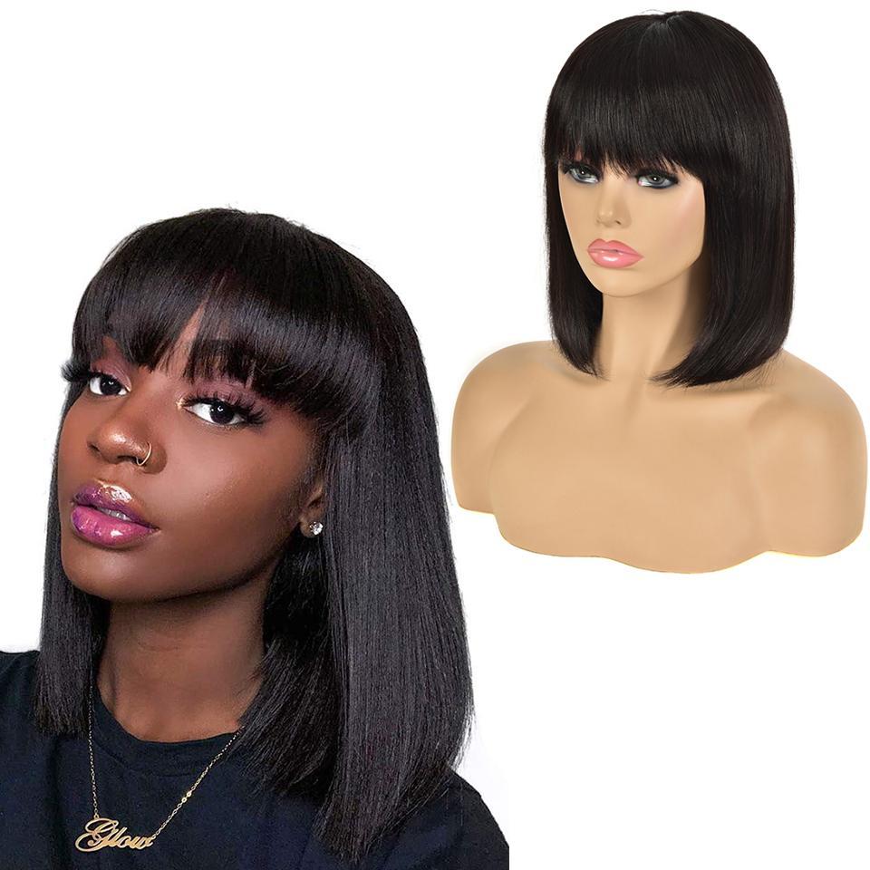 Pixie Cut Bob парики перуанские прямые короткие человеческие волосы бахрома парик с челкой для женщин
