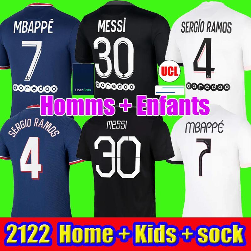MESSI 30 soccer jerseys MBAPPE SERGIO RAMOS WIJNALDUM 21 22 Maillots de football shirt 2021 2022 ICARDI men kids kit uniforms enfants maillot foot