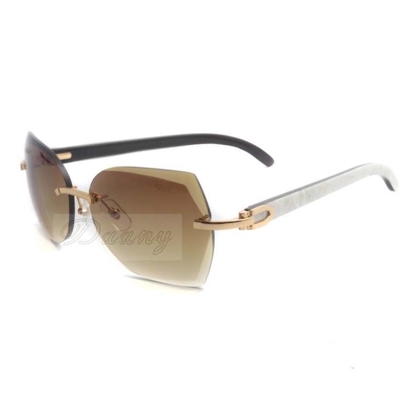 Neue Stil Trendy Top Qualität Natürliche Mischbüffel Horn Sonnenbrille in Gold mit Schnittlinsen 8300817 für Unisex, Größe: 60-18-140mm