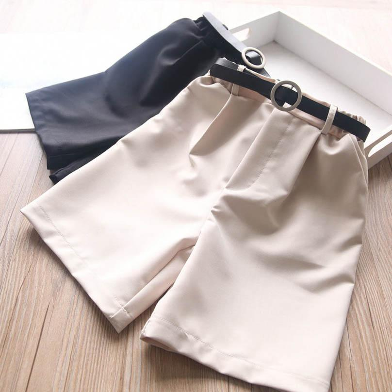 Girls Shorts Kids Pants Belt 2Pcs Casual Children Clothes Summer Baby Clothing Cotton Fashion Wear Outfits 2-8Y B4720