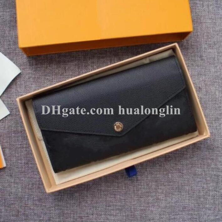 Women wallets purse wallet original box leather high quality date code card holder flower letters