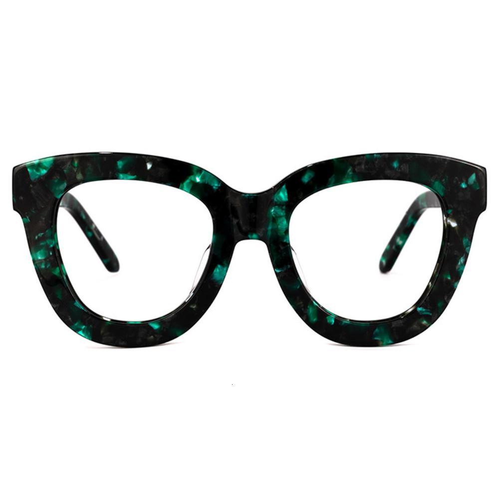 2021 Zeelool Moda Meninas Rim Acetato Laranja Gato Olho Grande Grosso Wholale Óptica Olho De Vidro Quadro