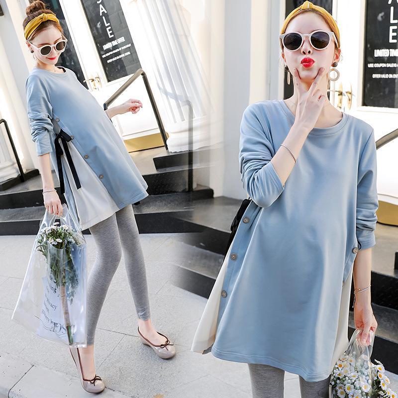한국 스타일 출산 착용 가을 긴 소매 바닥 셔츠 탑 느슨한 대형 T 셔츠 트렌디 한 드레스 스커트 드레스