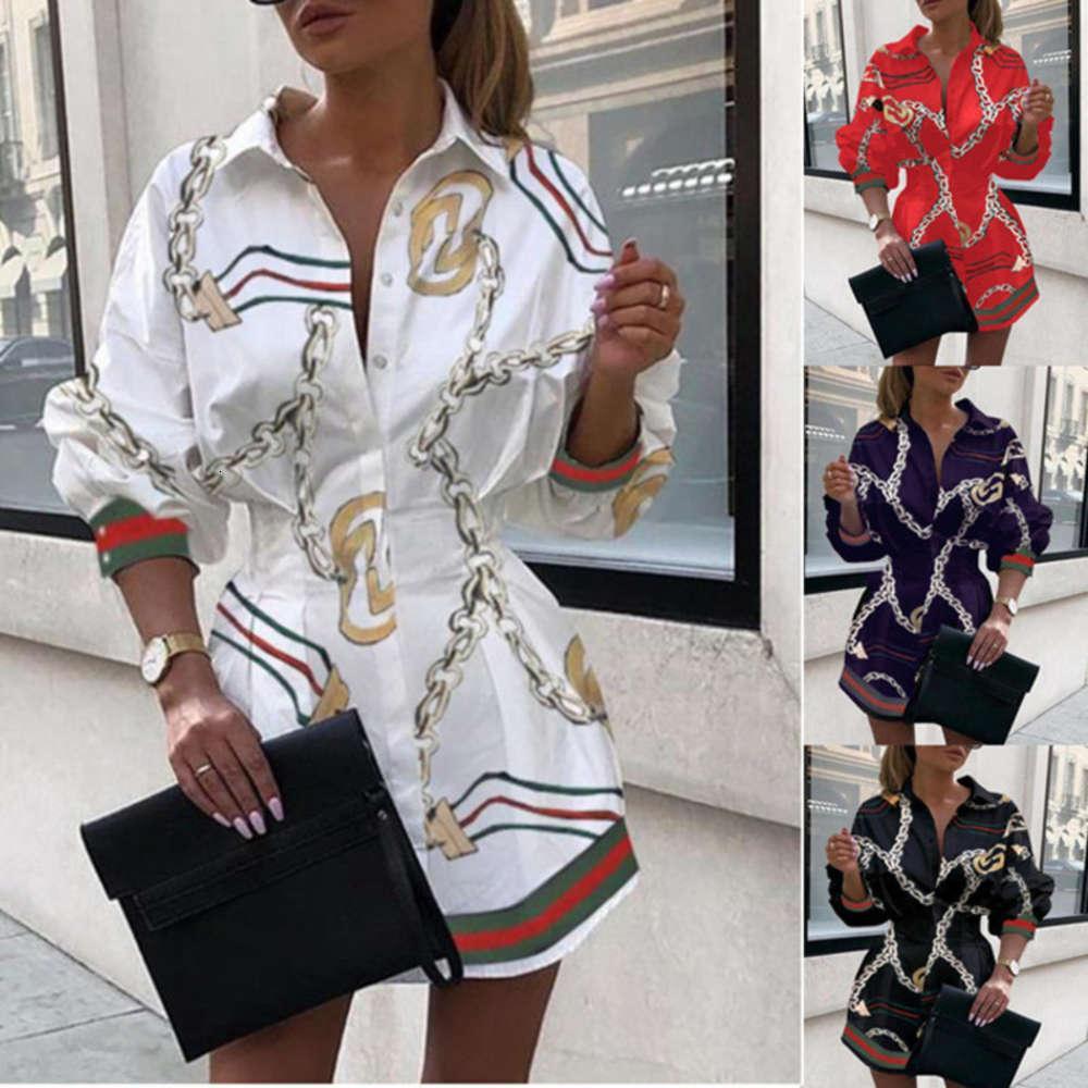 Günlük Elbiseler Sonbahar kadın Moda Gömlek Yaka Bel Düzensiz Drs Orta Uzunluk Etek