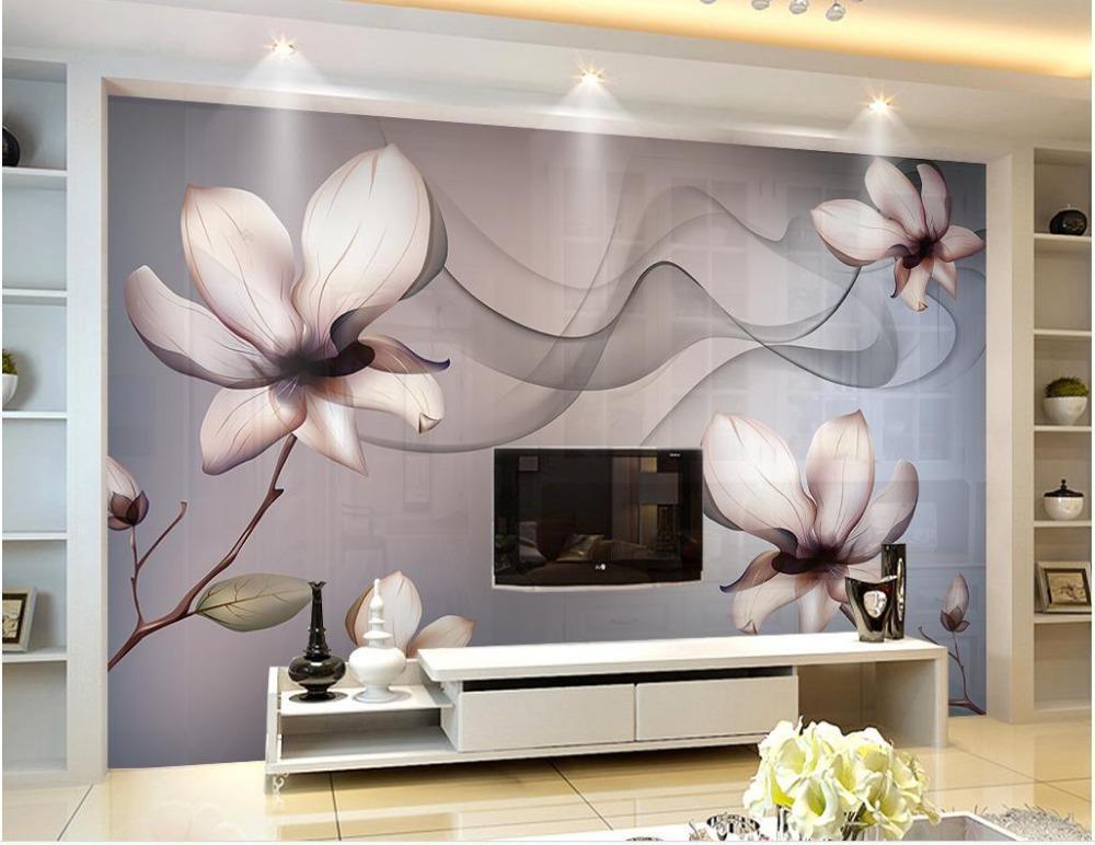 Fondos de pantalla 3D Papel tapiz estereoscópico Flores transparentes Fantasía Clásico para paredes Decoración del hogar