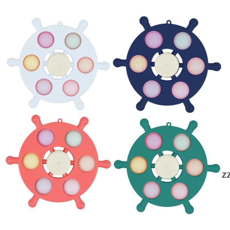 Party Fidget Spinner Spinner LED LED Luz Top Spinners Ground En Dark Light Spinder Finger Estrés Alivio Toys Regalo HWD8557