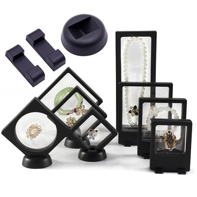 حقائب المجوهرات، أكياس 10 قطع 20 قطع البلاستيك عرض مربع حامل رفوف جولة مربع قاعدة ل شف شفافة دعم القوس