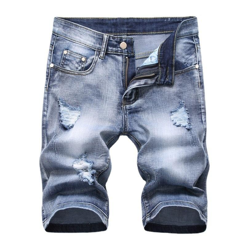 Holed Denim Orta Pantolon Yaz Kot Erkek Streç Şort