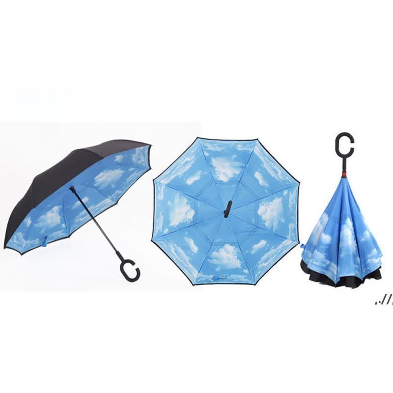 Rüzgar Geçirmez Ters Katlanır Çift Katmanlı Ters Şemsiye Kendinden Standı İçinde Yağmur Koruma C Için Kanca Eller CAR DWF7666