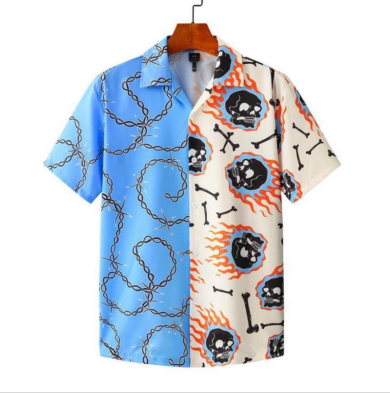 Uomini manica corta magliette hawaiane uomo patchwork rilassato-fit-fit asciugatura rapida estate casual 3D stampato bottone down donne vacanze camicia spiaggia per maschi VS012