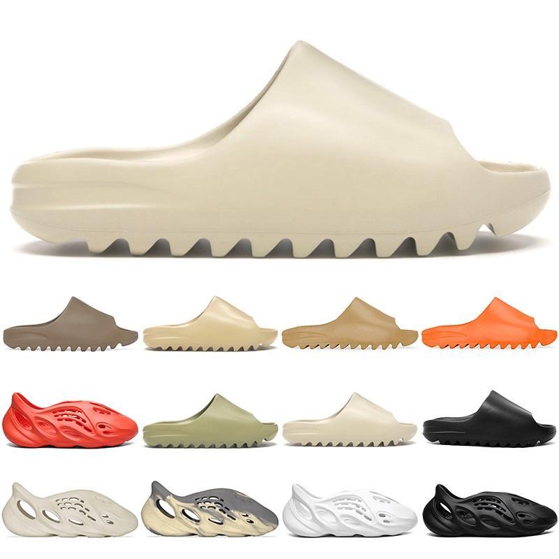 2021 Kanye Sandalet Çocuk Çocuk Slaytlar Terlik Ayakkabı Üçlü Siyah Beyaz Kırmızı Reçine Kemik Çöl Kum Mens Bayan Terlik Boyutu 32-47