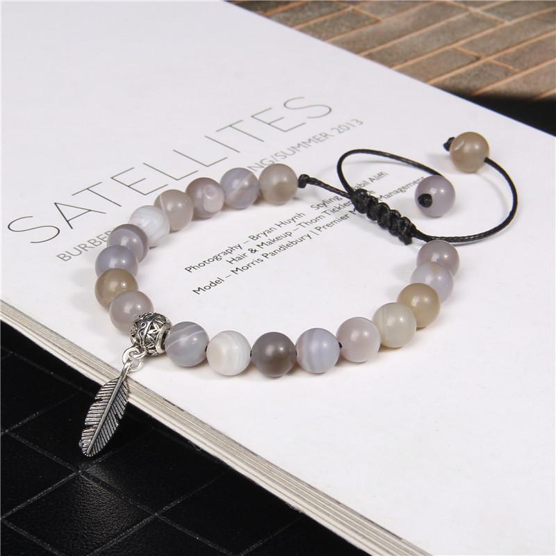 Métal Charms Bracelets Femmes Hommes Femmes Femmes Bijoux Pierre Naturelle Agat Agat Bracelets Cadeaux Réglable Cadeaux Réglables Perles, Strands