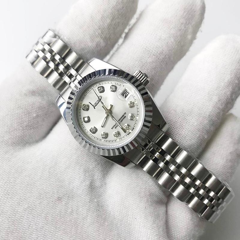 손목 시계 도매 고품질 실버 시계 28mm 크기 남성 럭셔리 데이트 자동 기계적 미끄러지는 부드러운 초침
