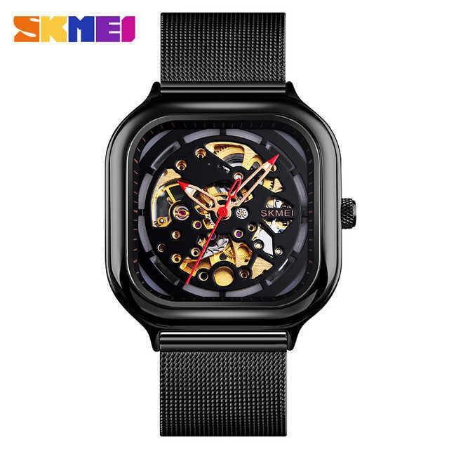 Skmei homens mecânicos assistir relógio automático quartzo impermeável arte oca strap desacordo de aço montre homme 9184 relógio y0708