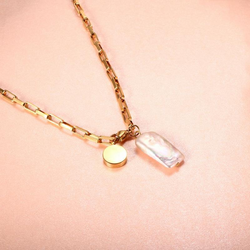 Collares colgantes Zmfashion Natural Shell Bead Collar Lady Acero inoxidable Personalizado Cadena de clavícula Joyería estética Regalo